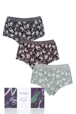 Ladies 3 Pack Thought Cheverly Bamboo Briefs Gift Box