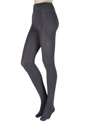 Ladies 1 Pair Thought Brontie Bamboo and Organic Cotton Plain 80 Denier Tights Charcoal Extra Large