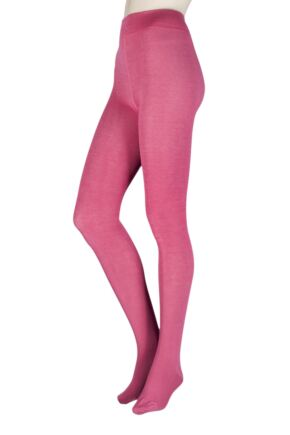 Ladies 1 Pair Thought Brontie Bamboo and Organic Cotton Plain 80 Denier Tights Raspberry Small