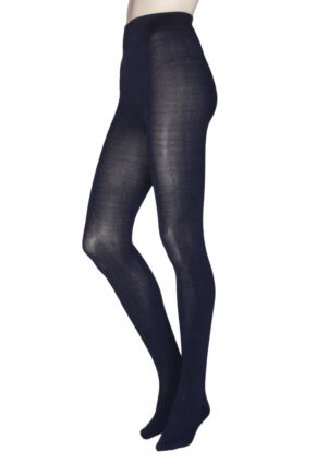 Ladies 1 Pair Thought Elgin Bamboo and Recycled Polyester Plain Tights Navy Small