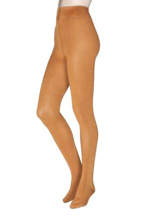 Ladies 1 Pair Thought Elgin Bamboo and Recycled Polyester Plain Tights Saffron Small