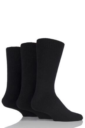 Mens 3 Pair Workforce Thermal Socks In Black