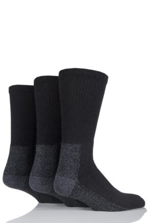 Mens 3 Pair Workforce Calf Length Safety Boot Socks Size 12 - 14 In Black