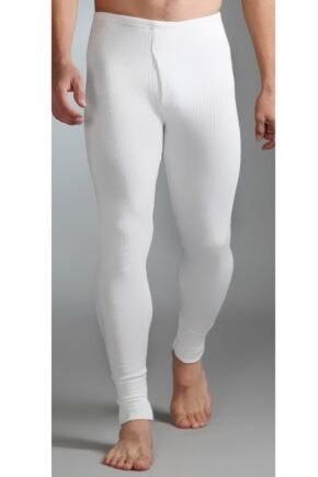 Mens 1 Pair SockShop Heat Holders Thermal Long Johns White L