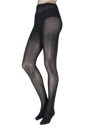 Ladies 1 Pair Trasparenze Wilma 90 Denier Cotton Flat Seam Tights
