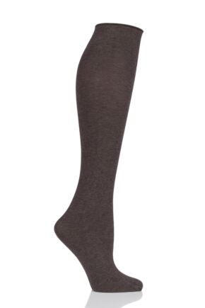 Ladies 1 Pair Trasparenze Wilma 90 Denier Cotton Knee High Socks