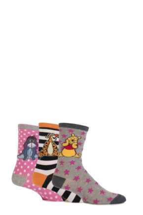 Girls 3 Pair SockShop Winnie The Pooh and Friends Socks