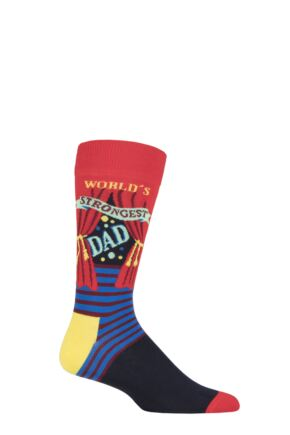 Mens 1 Pair Happy Socks Fathers Day World's Strongest Dad Cotton Socks