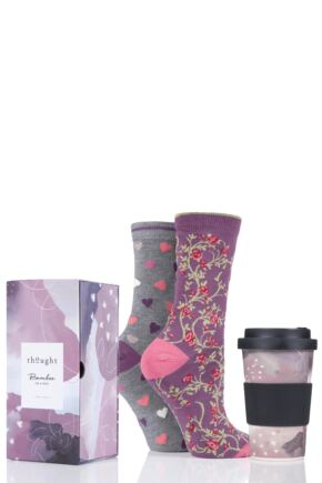 Ladies 2 Pair Thought Hearts Bamboo and Organic Cotton Socks with Bamboo Travel Cup