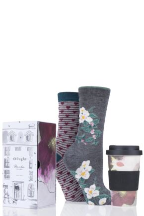 Ladies 2 Pair Thought Floral Bamboo and Organic Cotton Socks with Bamboo Cup in Gift Box