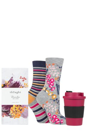 Ladies 2 Pair Thought Zebina Bamboo and Organic Cotton Gift Boxed Socks with Bamboo Cup