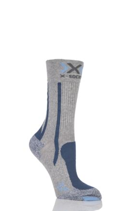 Ladies 1 Pair X-Socks Lightweight Trekking Socks Grey / Blue 2.5-3.5