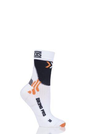 Mens and Ladies 1 Pair X-Socks Biking Pro Socks White/Black 8-9.5 Unisex