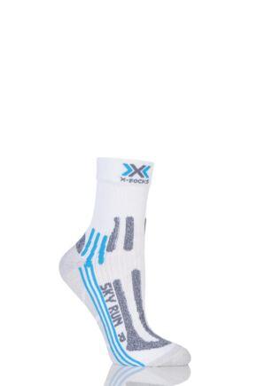 Ladies 1 Pair X-Socks Sky Run 2.0 Running Socks White / Turquoise 7-8