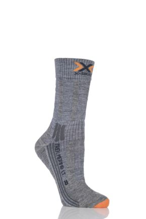 Ladies 1 Pair X-Socks Lightweight Merino Trekking Socks Grey 4-5