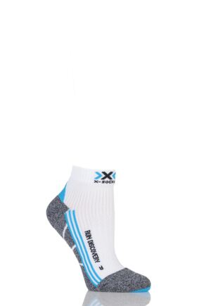 Ladies 1 Pair X-Socks Running Discovery Trainer Socks White / Turquoise / Grey 5.5-6.5
