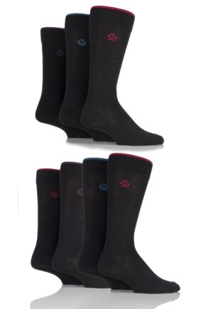 Mens 7 Pair Jeff Banks New Oxford Plain Socks with Contrast Tipping Black