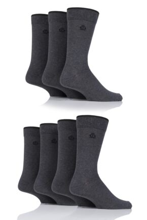 Mens 7 Pair Jeff Banks New Oxford Plain Socks with Contrast Tipping