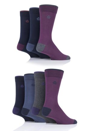 Mens 7 Pair Jeff Banks New Oxford Plain Socks with Contrast Tipping Purple 7-11 Mens