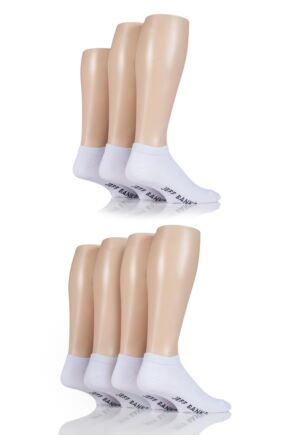 Mens 7 Pair Jeff Banks Plain Cotton Trainer Socks White 6-11 Mens