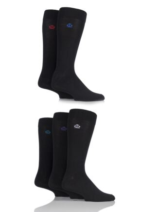 Mens 5 Pair Jeff Banks Chelmsford Plain Bamboo Socks Black 7-11