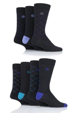 Mens 7 Pair Jeff Banks Widmore Patterned Cotton Socks