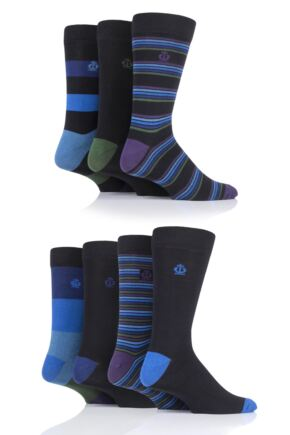 Mens 7 Pair Jeff Banks Stripe and Plain Cotton Socks