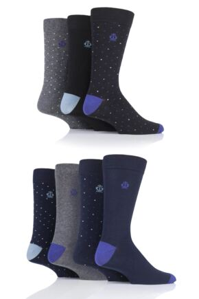 Mens 7 Pair Jeff Banks Dots and Plain Cotton Socks