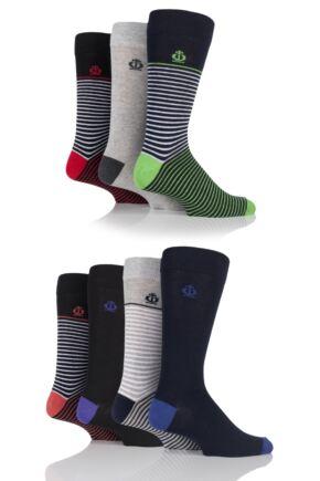 Mens 7 Pair Jeff Banks Banbury Narrow Striped and Plain Cotton Socks Assorted 7-11
