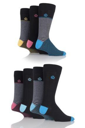 Mens 7 Pair Jeff Banks Banbury Narrow Striped and Plain Cotton Socks