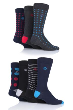 Mens 7 Pair Jeff Banks Hastings Dots and Waves Cotton Socks Navy 7-11 Mens