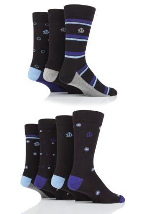 Mens 7 Pair Jeff Banks Stripe and Spots Cotton Socks