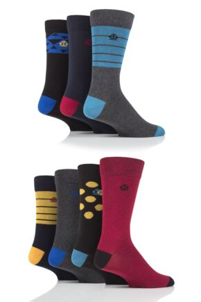 Mens 7 Pair Jeff Banks Triangles, Stripes and Dots Cotton Socks