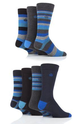 Mens 7 Pair Jeff Banks Mixed Stripes Cotton Socks