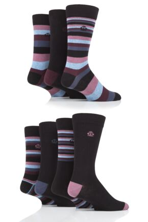 Mens 7 Pair Jeff Banks Mixed Stripes Cotton Socks