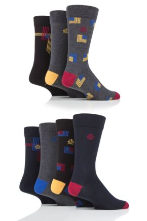 Mens 7 Pair Jeff Banks Squares and Lines Cotton Socks