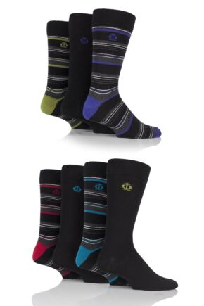 Mens 7 Pair Jeff Banks Aldgate Plain and Multi Stripe Cotton Socks