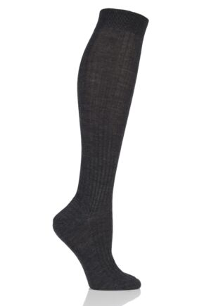 Ladies 1 Pair Pantherella Classic Merino Wool Ribbed Knee High Socks Charcoal 4-8