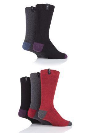 Mens 5 Pair Jeff Banks Contrast Heel and Toe Wool Mix Leisure Socks