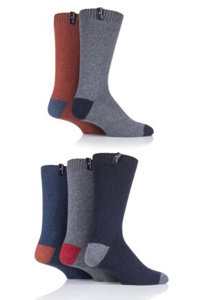 Mens 5 Pair Jeff Banks Contrast Heel and Toe Wool Mix Leisure Socks
