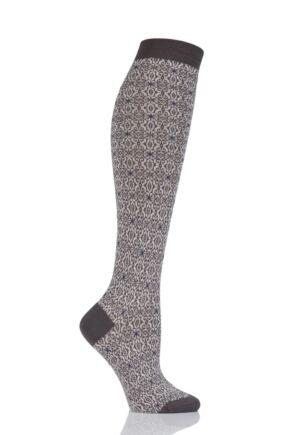 Ladies 1 Pair Pantherella Tessa Tapestry Jacquard Merino Wool Knee High Socks