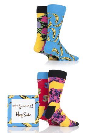 Mens and Ladies 4 Pair Happy Socks Andy Warhol Socks in Gift Box