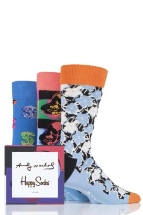 Mens and Ladies 3 Pair Happy Socks Andy Warhol Socks in Gift Box