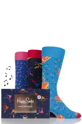 Mens and Ladies 3 Pair Happy Socks Birthday Combed Cotton Socks In Singing Gift Box