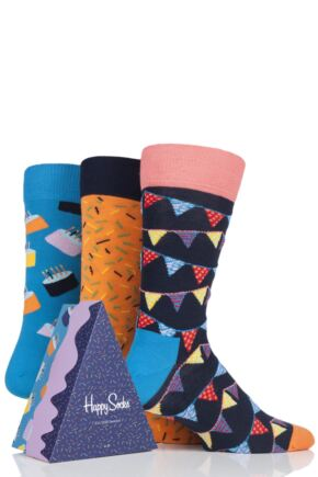 Mens and Ladies 3 Pair Happy Socks Happy Birthday Socks in Cake Gift Box
