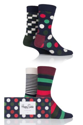 Mens and Ladies 4 Pair Happy Socks Multi Patterned Socks in Gift Box