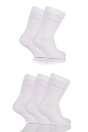 Girls 5 Pair Baby Elle White Plain Socks