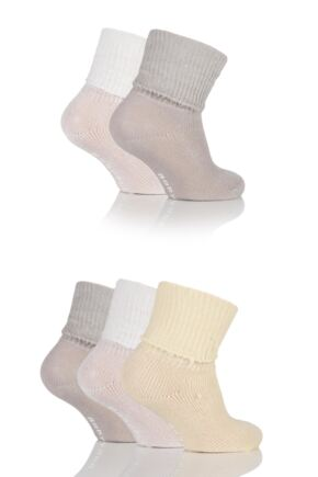 Girls 5 Pair Baby Elle Khaki Plain Ankle Socks