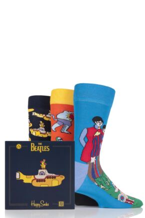 Mens and Ladies Happy Socks The Beatles Yellow Submarine EP Collector's Cotton Socks Gift Box