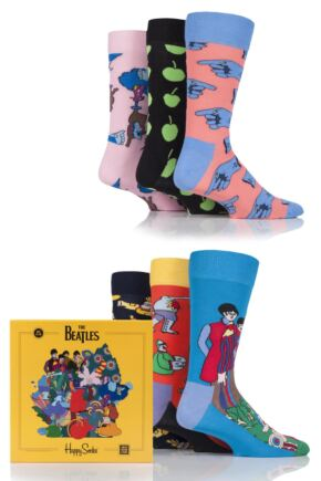 Mens and Ladies Happy Socks The Beatles LP Collector's Box Cotton Socks Gift Box